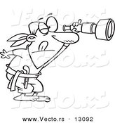 Vector of a Cartoon Pirate Peering Through a Spyglass Telescope - Outlined Coloring Page by Toonaday