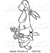 Vector of a Cartoon Pirate Stabbed with a Sword - Outlined Coloring Page by Toonaday