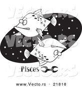 Vector of a Cartoon Pisces Astrology Fish over a Black Oval - Outlined Coloring Page by Toonaday