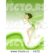 Vector of a Cartoon Pixie Blowing Swirls over a Green Background with Waves by BNP Design Studio
