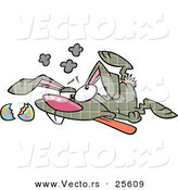 Vector of a Cartoon Plaid Easter Bunny Crashed on the Ground with a Broken Egg During Delivery by Toonaday
