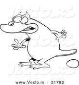 Vector of a Cartoon Platypus Laying an Egg - Outlined Coloring Page by Toonaday
