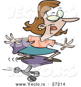Vector of a Cartoon Playful Business Woman Surfing on Her Office Chair by Toonaday
