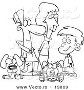 Vector of a Cartoon Pleasant Family - Outlined Coloring Page by Toonaday