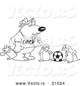 Vector of a Cartoon Polar Bear Coaching Penguins for Soccer - Coloring Page Outline by Toonaday