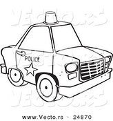 Vector of a Cartoon Police Car with a Siren Cone on the Roof - Outlined Coloring Page by Toonaday