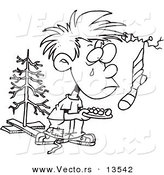 Vector of a Cartoon Poor Christmas Boy Wanting More - Coloring Page Outline by Toonaday