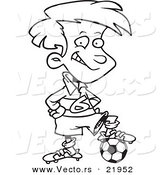 Vector of a Cartoon Posing Soccer Boy - Outlined Coloring Page by Toonaday
