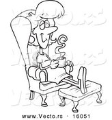 Vector of a Cartoon Pregnant Girl Relaxing in a Chair with a Warm Beverage - Outlined Coloring Page Drawing by Toonaday