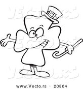 Vector of a Cartoon Presenting St Patricks Day Clover - Coloring Page Outline by Toonaday