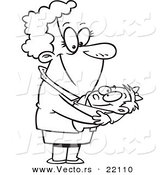 Vector of a Cartoon Proud Granny - Outlined Coloring Page by Toonaday