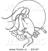 Vector of a Cartoon Proud Shrimp in the Spotlight - Coloring Page Outline by Toonaday