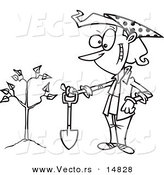 Vector of a Cartoon Proud Woman with a Shovel by a Newly Planted Tree - Coloring Page Outline by Toonaday