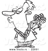 Vector of a Cartoon Puckering Man Holding Flowers - Coloring Page Outline by Toonaday