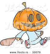 Vector of a Cartoon Pumpkin Head Kid Trick-Or-Treater on Halloween by Toonaday