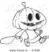 Vector of a Cartoon Pumpkin Head Trick or Treater - Outlined Coloring Page by Toonaday