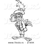 Vector of a Cartoon Punky Rooster with a Boom Box - Outlined Coloring Page by Toonaday