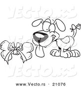 Vector of a Cartoon Puppy with a Bell on His Tail, Looking at a Bone - Coloring Page Outline by Toonaday