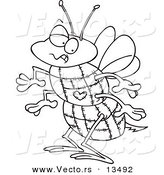 Vector of a Cartoon Quilted Bee - Coloring Page Outline by Ron Leishman