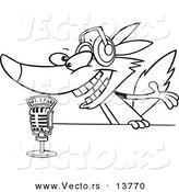 Vector of a Cartoon Radio Wolf Talking into a Microphone - Coloring Page Outline by Toonaday
