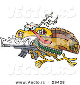 Vector of a Cartoon Rambo Turkey with a Machine Gun and Lots of Ammo by Toonaday