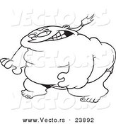 Vector of a Cartoon Ready Sumo Wrestler - Coloring Page Outline by Ron Leishman