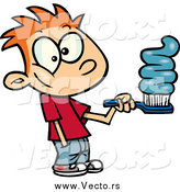 Vector of a Cartoon Red Haired Boy Going Overboard on Toothpaste by Toonaday