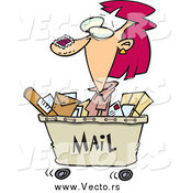 December 18th, 2014: Vector of a Cartoon Red Haired Postal Woman in a Mail Cart by Ron Leishman