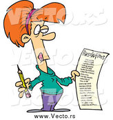 Vector of a Cartoon Red Haired White Woman Holding a Long New Year Resolutions List by Ron Leishman