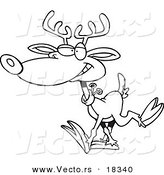 Vector of a Cartoon Reindeer Walking - Outlined Coloring Page by Toonaday