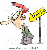 Vector of a Cartoon Relax Arrow Pointing at a Red Haired White Man by Ron Leishman