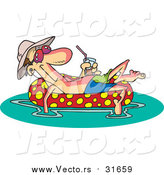 Vector of a Cartoon Relaxed White Man Floating in an Inner Tube with a Beverage by Ron Leishman