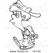 Vector of a Cartoon Reluctant School Boy Walking - Outlined Coloring Page by Toonaday