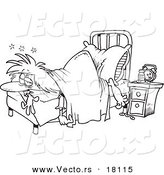 Vector of a Cartoon Restless Woman Laying at the Foot of Her Bed - Outlined Coloring Page by Toonaday