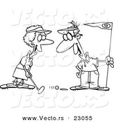 Vector of a Cartoon Retired Couple Golfing - Coloring Page Outline by Toonaday