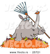 Vector of a Cartoon Rhino Holding a Rake in a Pile of Autumn Leaves by Toonaday