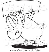 Vector of a Cartoon Rhino Holding up a Blank Banner - Outlined Coloring Page by Toonaday