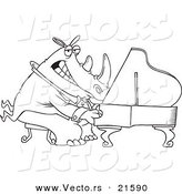 Vector of a Cartoon Rhino Pianist - Outlined Coloring Page by Toonaday