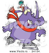 Vector of a Cartoon Rhino Trying to Ice Skate by Toonaday