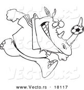Vector of a Cartoon Rhino with a Soccer Ball on His Horn - Outlined Coloring Page by Ron Leishman