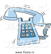 Vector of a Cartoon Ringing Blue Desk Phone by Toonaday