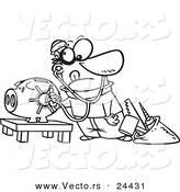 Vector of a Cartoon Robber Unlocking a Piggy Bank Vault - Outlined Coloring Page by Ron Leishman
