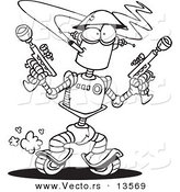 Vector of a Cartoon Robot Smoking a Cigarette and Holding Guns - Coloring Page Outline by Toonaday
