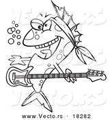 Vector of a Cartoon Rocker Fish - Outlined Coloring Page by Toonaday