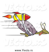 Vector of a Cartoon Rocket Strapped onto an Express Mail Fast Snail by Ron Leishman