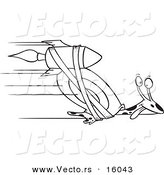 Vector of a Cartoon Rocket Strapped onto an Express Mail Snail - Outlined Coloring Page Drawing by Toonaday