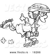 Vector of a Cartoon Roller Blading Boy - Outlined Coloring Page by Toonaday