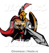 Vector of a Cartoon Roman Spartan Warrior Jabbing Outwards with a Sword by Chromaco