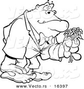 Vector of a Cartoon Romantic Gorilla Holding Flowers - Outlined Coloring Page Drawing by Toonaday