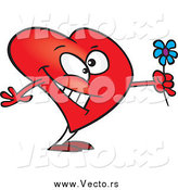 February 13th, 2015: Vector of a Cartoon Romantic Heart Character Holding Flowers by Ron Leishman